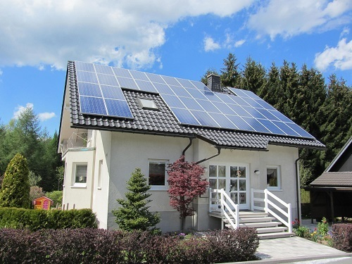 Solar Panels On Beutiful House
